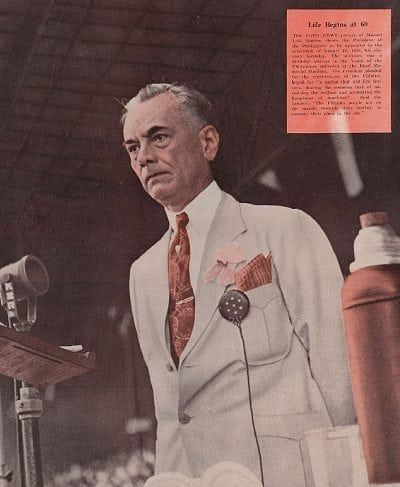 President Quezon on August 19, 1938, his sixtieth birthday, as he delivers an address at the Rizal Memorial Stadium.