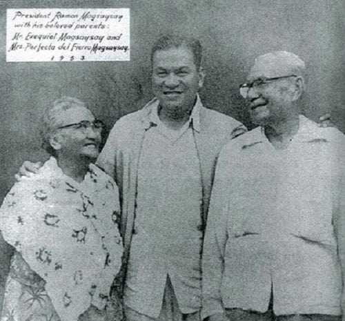 Ramon Magsaysay with his parents
