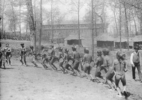 Igorot men dancing during St. Louis Exposition of 1904