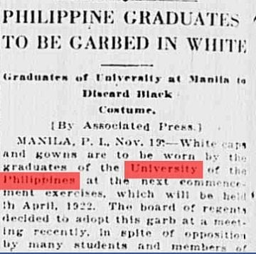 UP graduates used to wear white togas