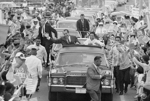 President Richard Nixon and President Ferdinand Marcos in Motorcade in Philippines