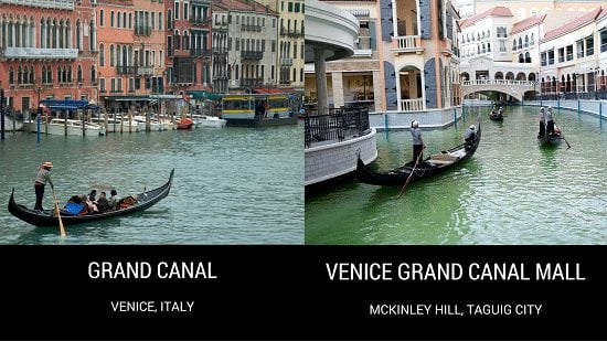 Grand Canal in Venice, Italy versus Venice Grand Canal Mall in McKinley Hill, Taguig City