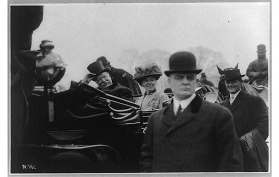 President William Howard Taft and wife during 1909 inauguration