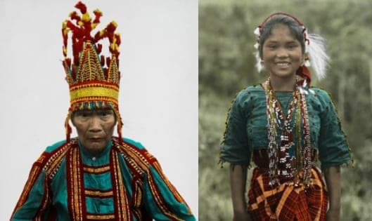 Color photos of indigenous Filipino groups in the early 20th century