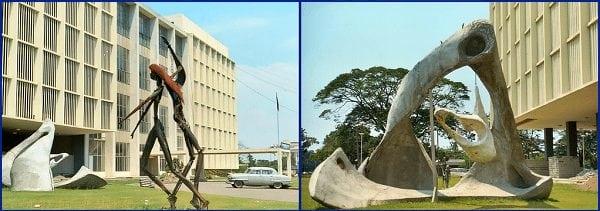 Modern art outside the National Library near Rizal Park, late 1960s