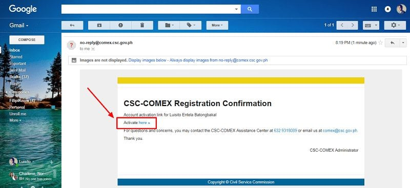 COMEX verification link