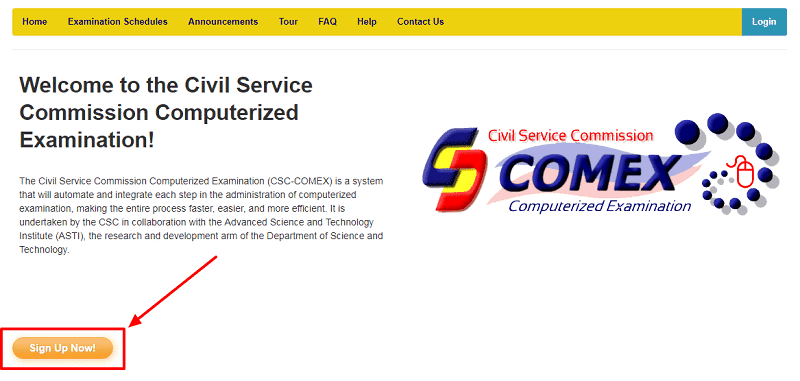 civil service exam computerized examination or COMEX website