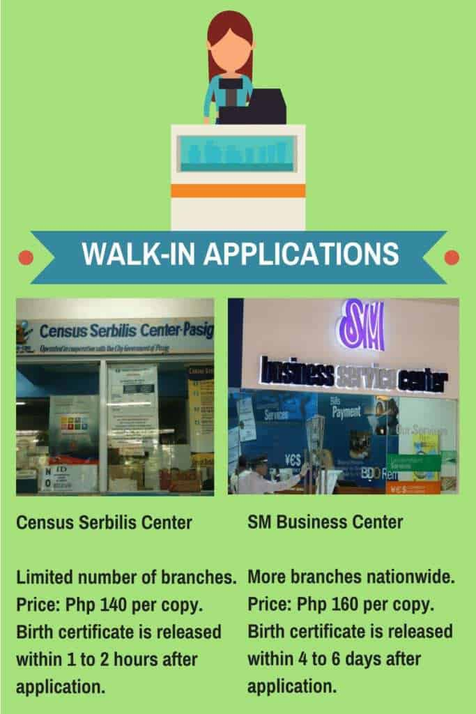 how to get birth certificate walk in application