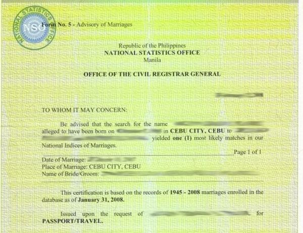 City Hall Marriage Certificate