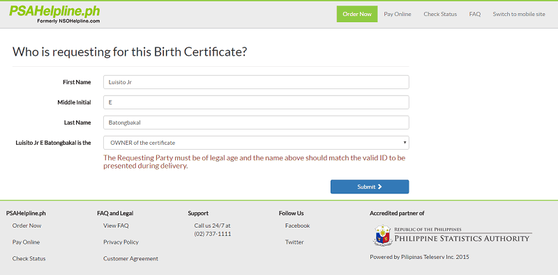 how to get psa birth certificate online