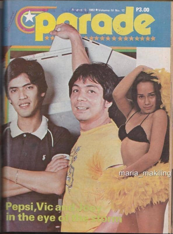 Vic Sotto, Joey de Leon, and Pepsi Paloma in Parade Magazine