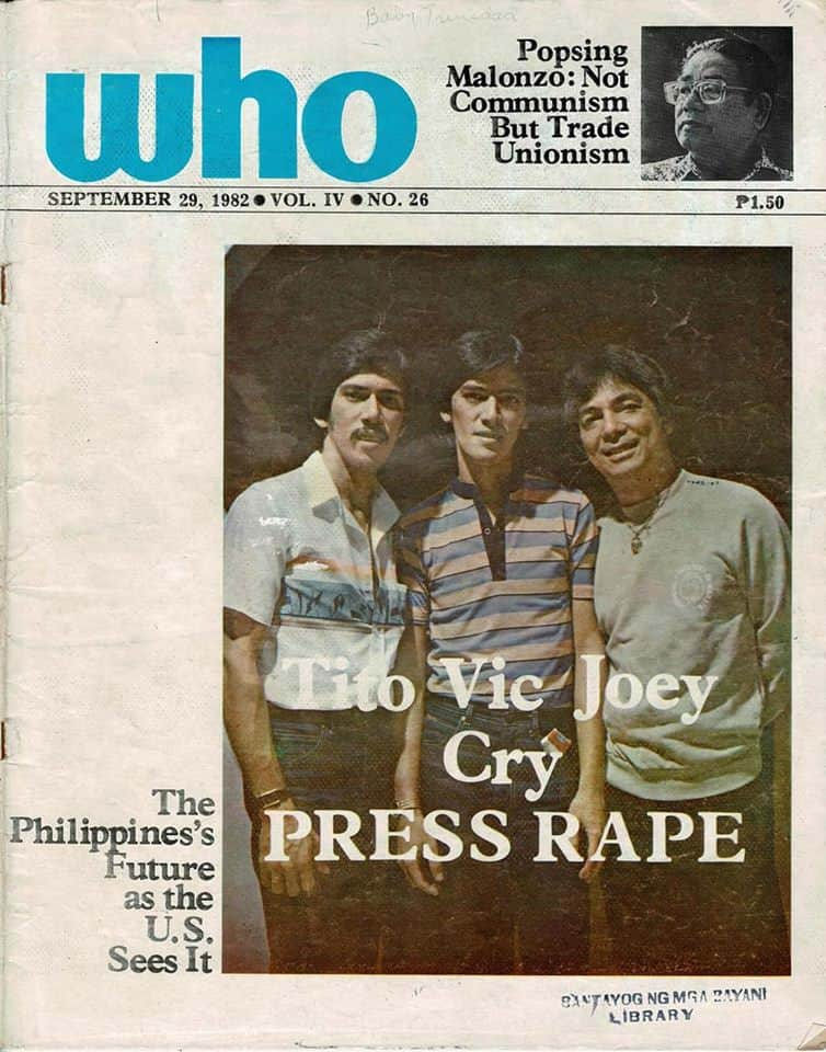 tito vic and joey on the cover of Who Magazine 1982