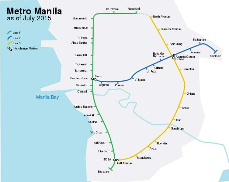 map of mrt, lrt 1, and lrt 2 train stations