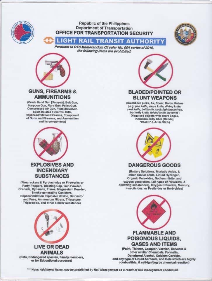 prohibited items in lrt