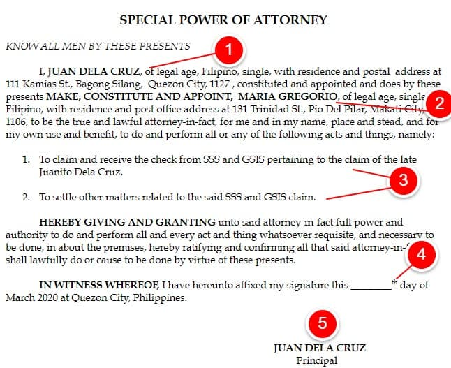 special power of attorney SPA 1