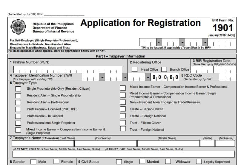 bir form 1901 sample