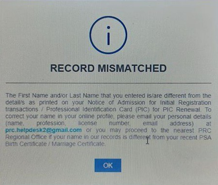 record mismatched prc initial registration