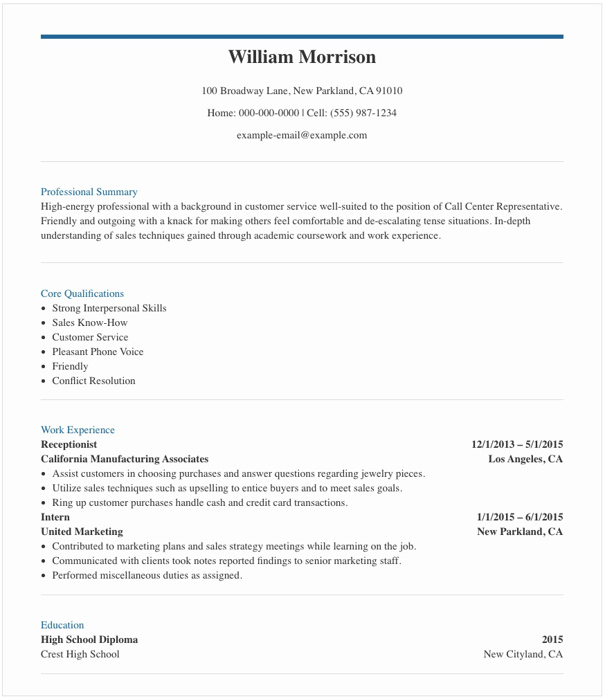 Resume Samples For Call Center Agent In The Philippines