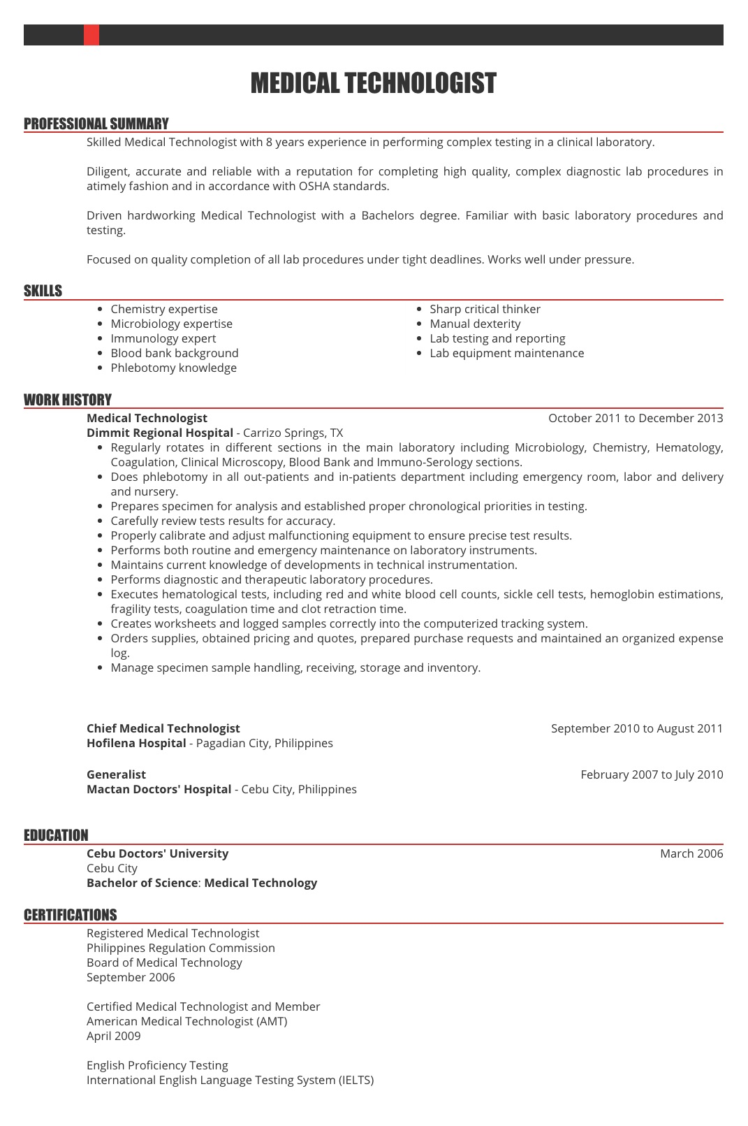 Resume Samples For Healthcare Workers In The Philippines