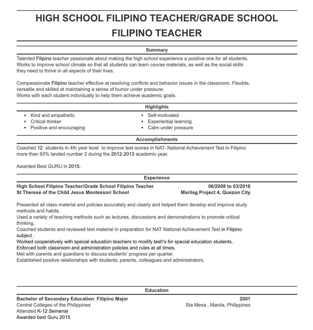 resume sample philippines 31