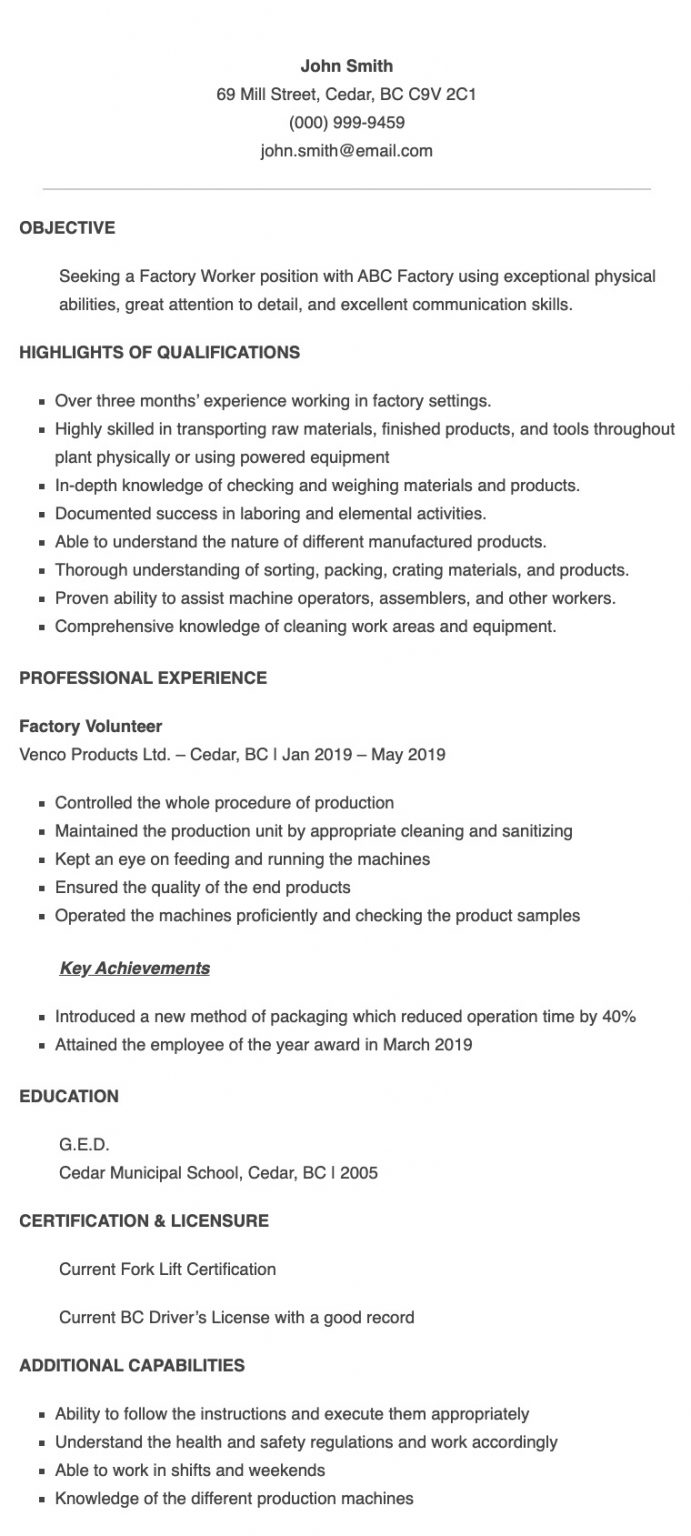 resume samples for factory worker applicant in the philippines