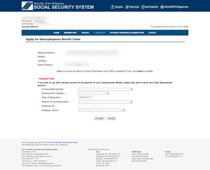 sss unemployment benefits online application 4