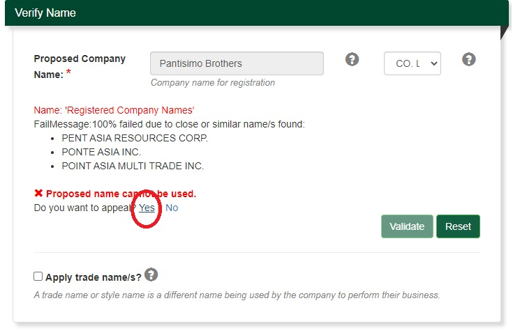 how to appeal a rejected proposed sec company name