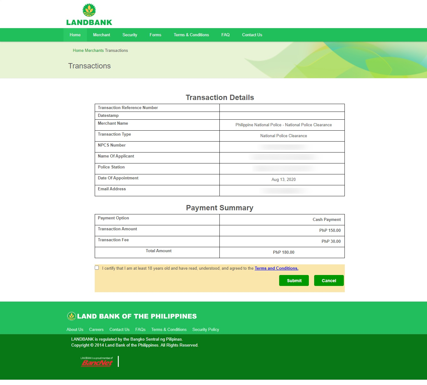 how to pay police clearance via 711 5