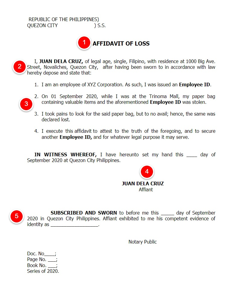 affidavit of loss sample philippines