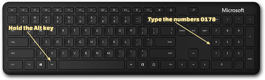 how to type the squared symbol in windows keyboard