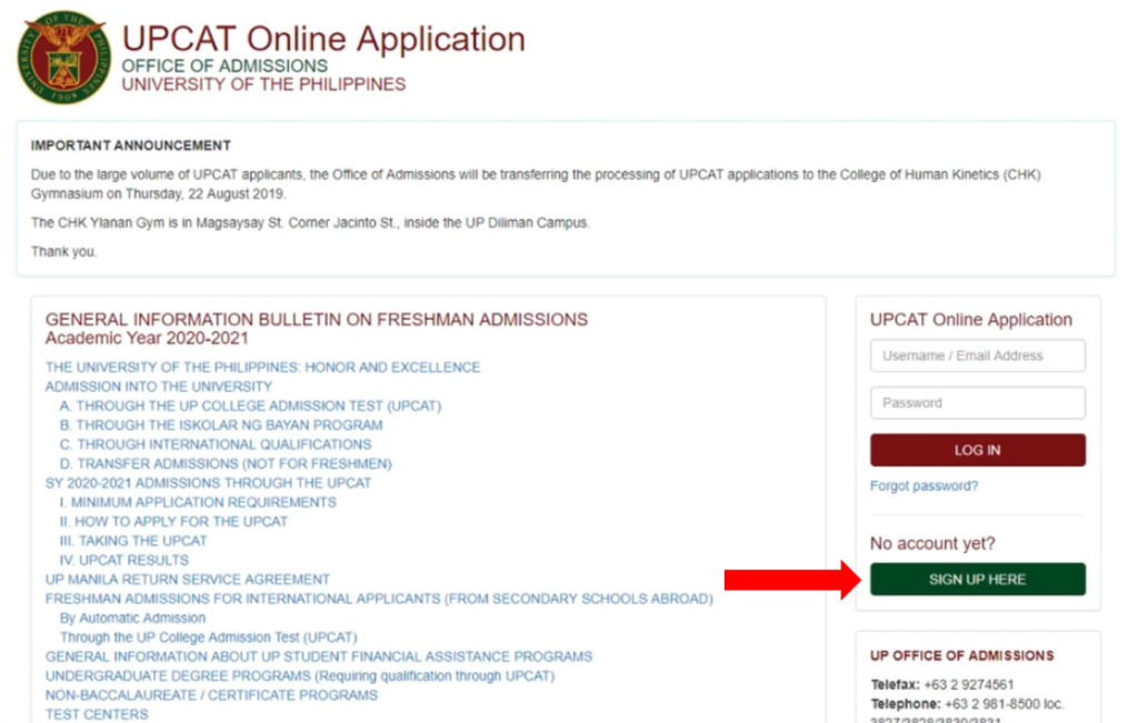 how to apply upcat 2