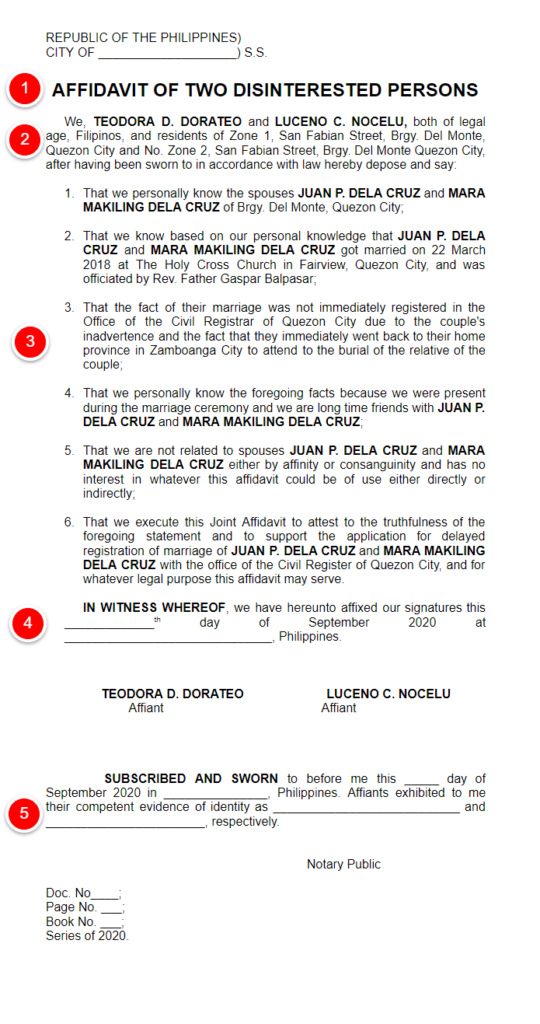 how to get affidavit of two disinterested persons sample