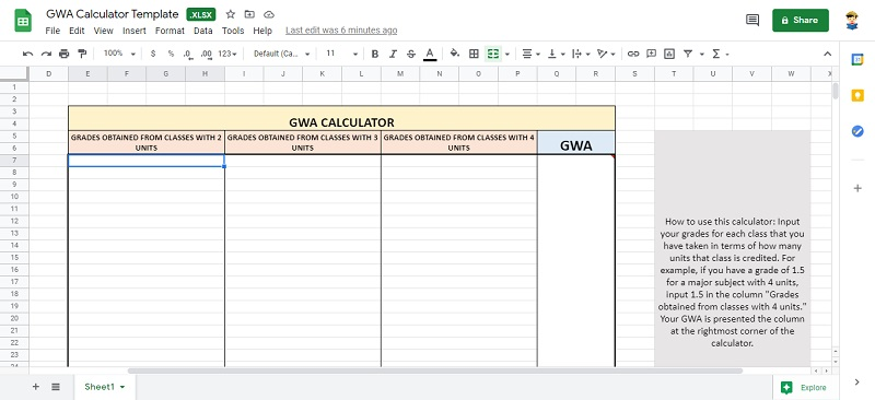 how to compute gwa in excel