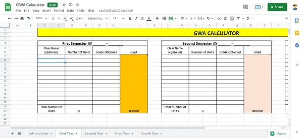 how to compute gwa in microsoft excel