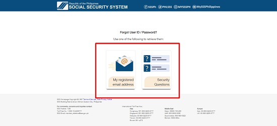 how can i recover my sss user id and password 2