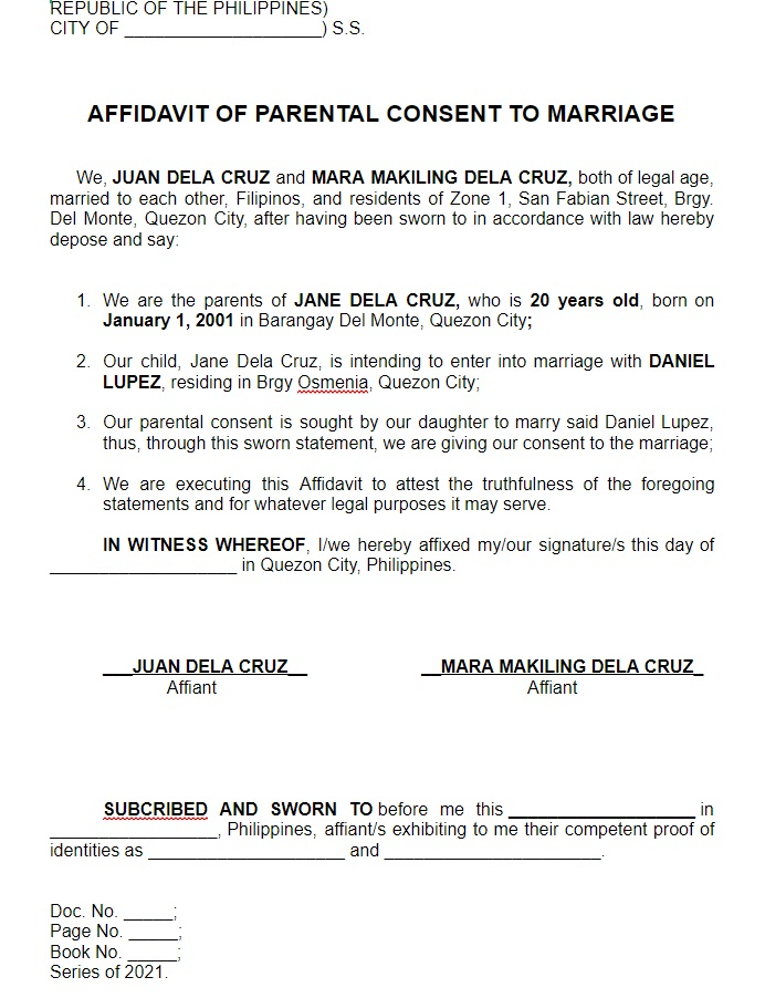parents consent letter for marriage sample in philippines