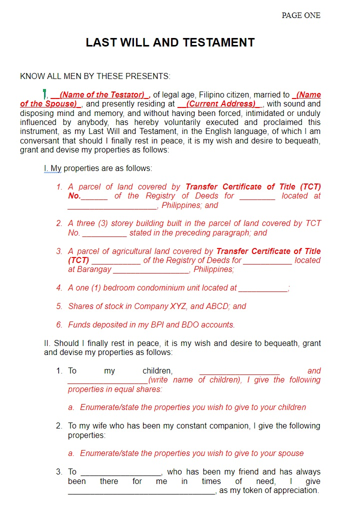 last will and testament philippines 1