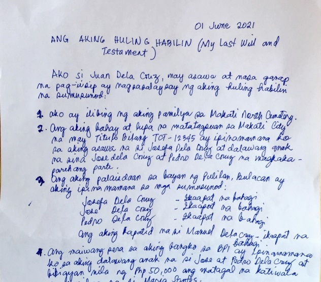 last will and testament philippines 2