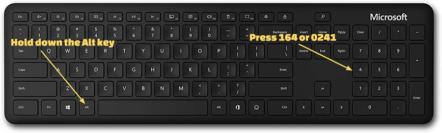 how to type small enye on a windows computer with a numpad